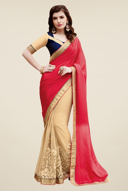 Shonaya Beige & Red Satin Chiffon & Net Saree