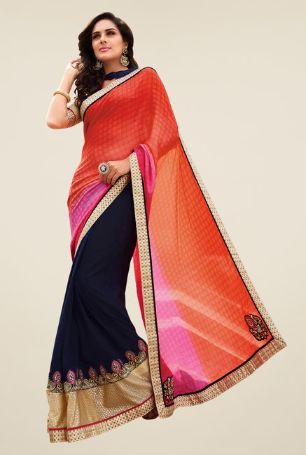 Shonaya Navy & Orange Georgette Embroidered Saree