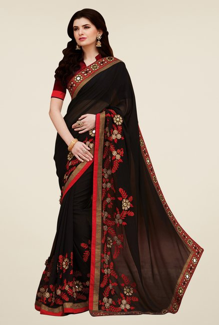 Shonaya Black Georgette Embroidered Saree