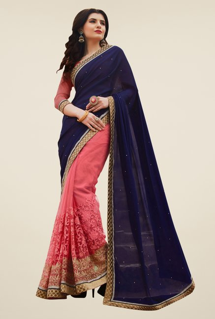 Shonaya Peach & Blue Chiffon & Net Saree