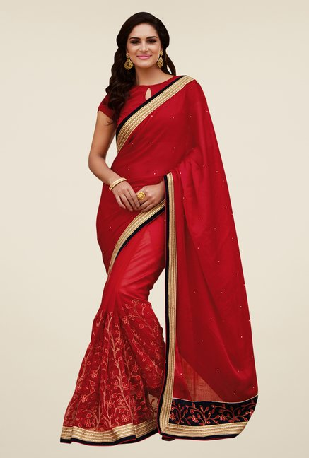 Shonaya Red Satin Chiffon & Net Saree