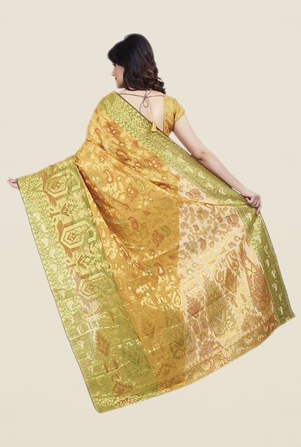 Shonaya Gold & Green Poly Cotton Saree