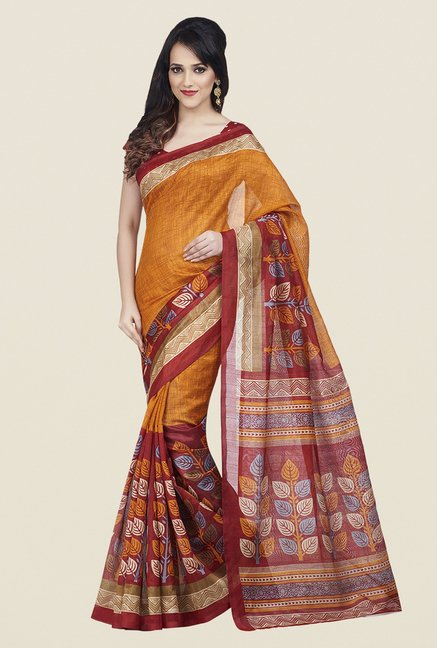 Shonaya Red & Orange Bhagalpuri Art Silk Saree