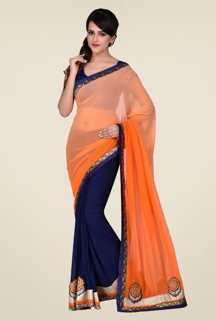 Shonaya Blue & Peach Faux Georgette Saree