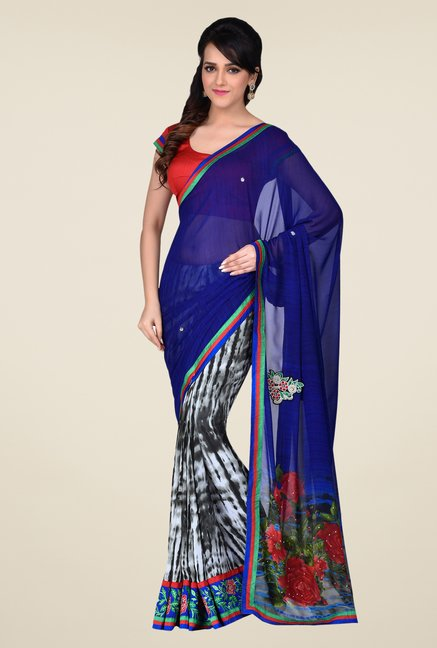 Shonaya Blue & Grey Faux Georgette Saree