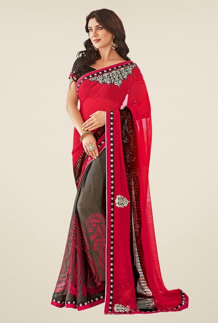 Shonaya Red & Brown Georgette Saree