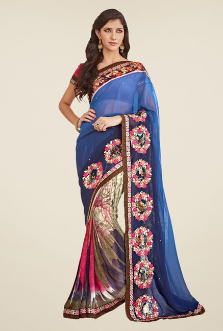 Shonaya Blue Georgette Saree