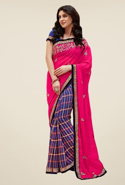 Shonaya Blue & Pink Georgette Embroidered Saree