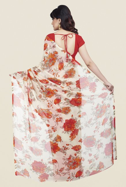 Shonaya Coral & Cream Dani Georgette Saree