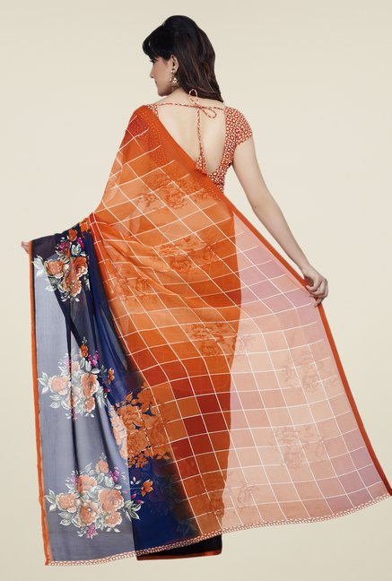 Shonaya Orange & Blue Dani Georgette Saree