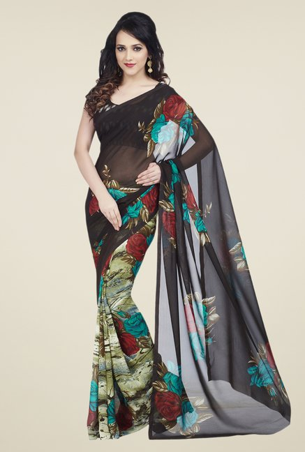 Shonaya Brown & Olive Dani Georgette Saree