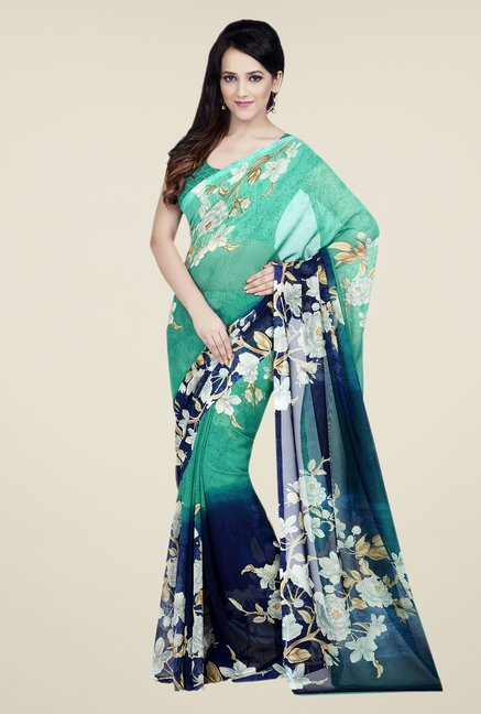 Shonaya Green & Blue Dani Georgette Saree