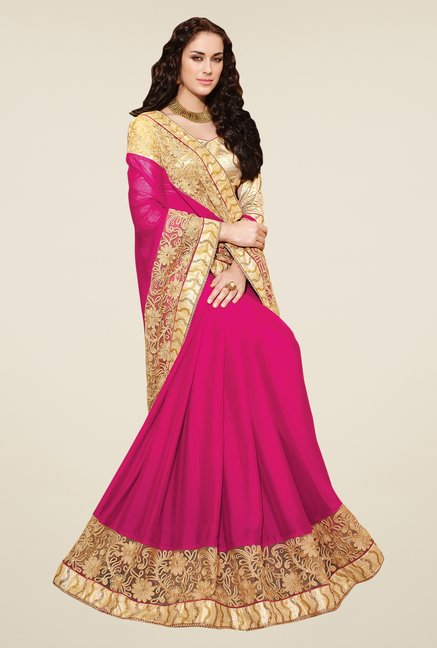 Shonaya Pink & Gold Georgette Saree