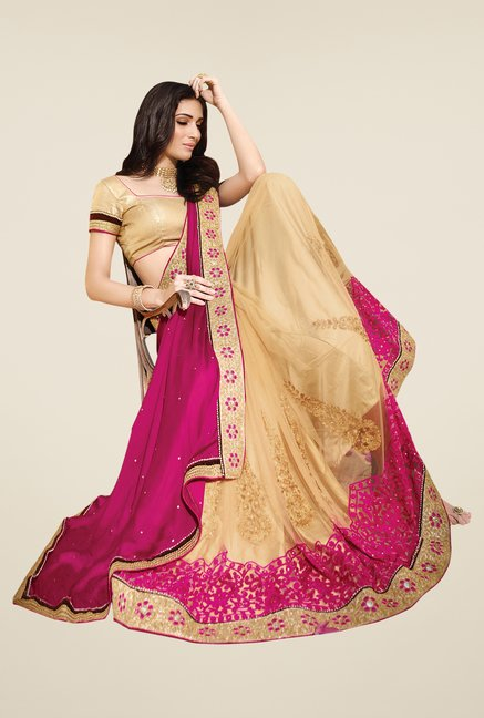 Shonaya Beige & Beige Net & Chiffon Embroidered Saree