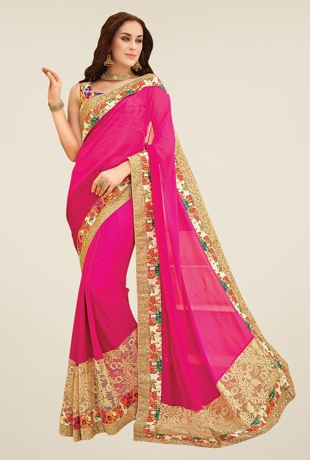Shonaya Pink & Beige Georgette Embroidered Saree
