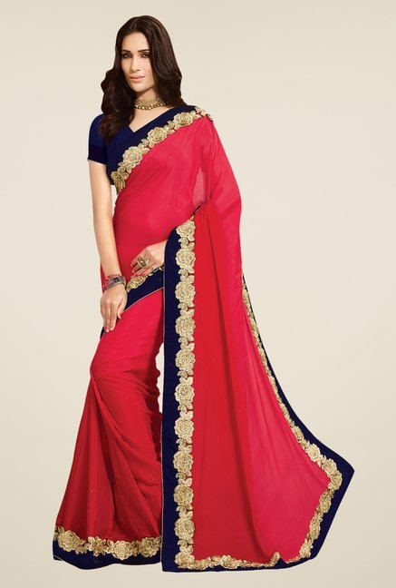 Shonaya Red Chiffon Saree