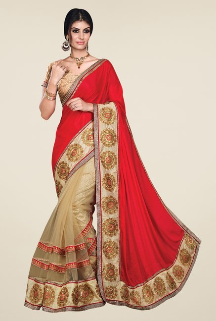 Shonaya Beige & Red Net & Chiffon Saree
