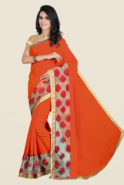 Shonaya Orange Georgette & Net Saree