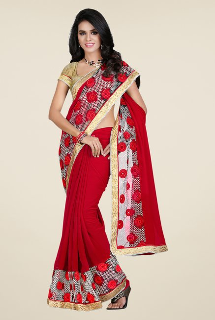 Shonaya Red Georgette & Net Solid Saree