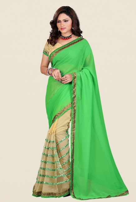 Shonaya Green & Beige Georgette & Net Saree