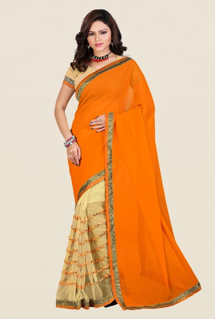 Shonaya Orange & Beige Georgette & Net Solid Saree