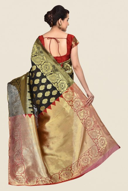 Shonaya Black & Gold Banarasi Art Silk Printed Saree