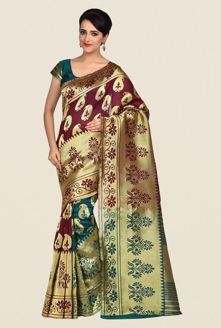 Shonaya Maroon & Gold Banarasi Art Silk Saree