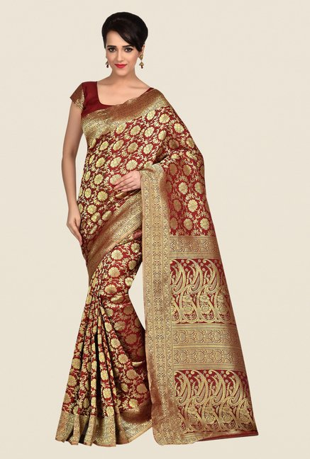 Shonaya Red & Gold Banarasi Art Silk Saree