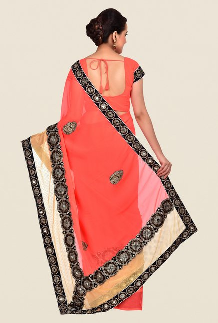 Shonaya Coral Georgette Chiffon Embroidered Saree
