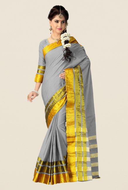 Shonaya Grey & Gold Cotton Silk Saree