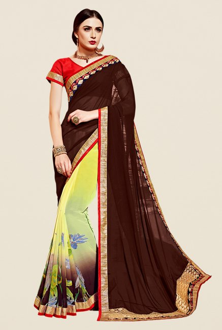 Shonaya Brown & Yellow Georgette & Net Saree