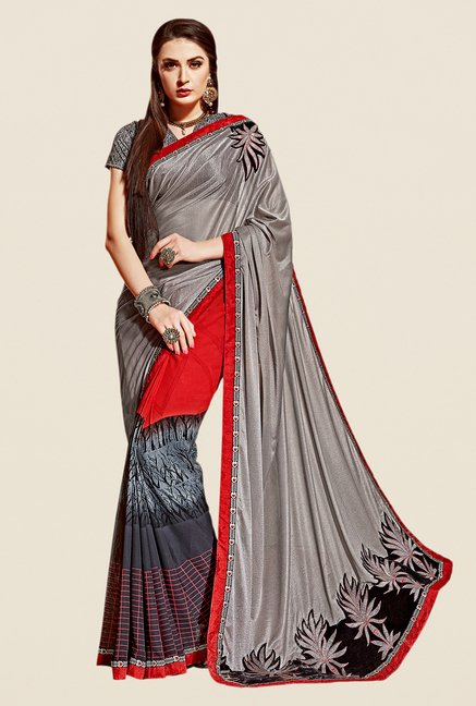 Shonaya Grey & Red Georgette & Lycra Saree