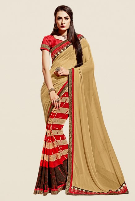 Shonaya Beige & Red Georgette Saree