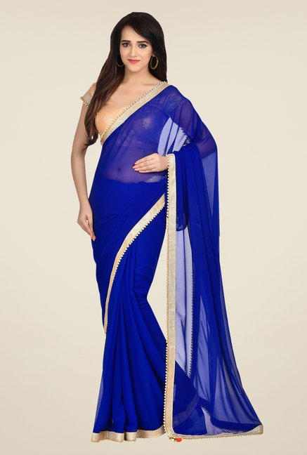 Shonaya Blue Georgette Solid Saree