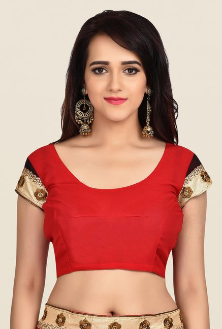 Shonaya Red & Black Georgette Embroidered Saree