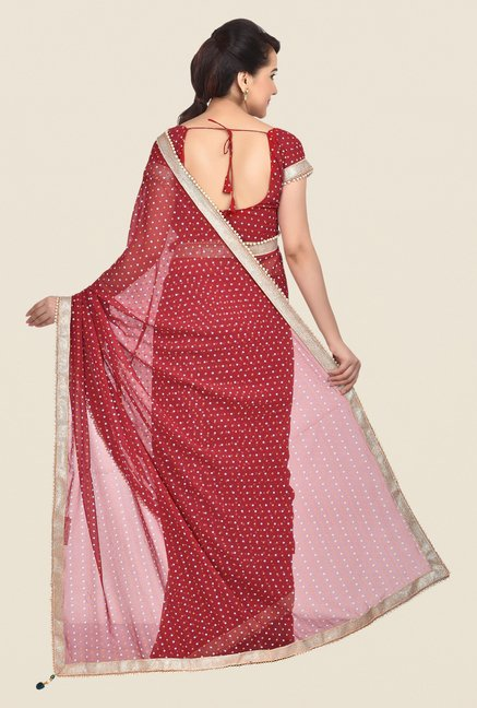 Shonaya Red Georgette Bandhani Saree