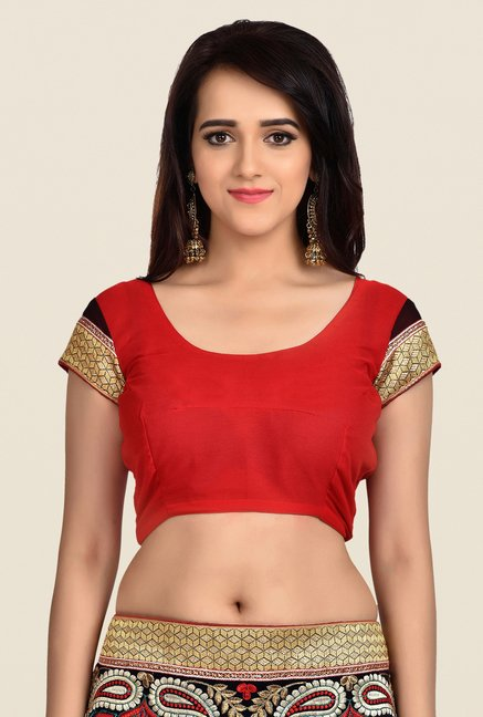Shonaya Red & Black Georgette Saree