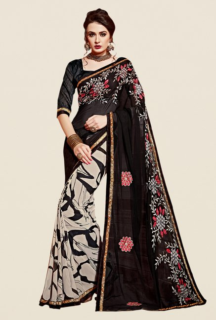 Shonaya Black & Beige Georgette Saree