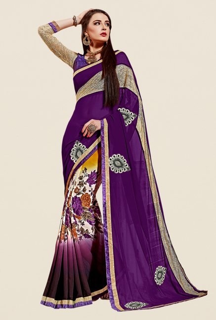 Shonaya Purple & Cream Georgette & Net Saree