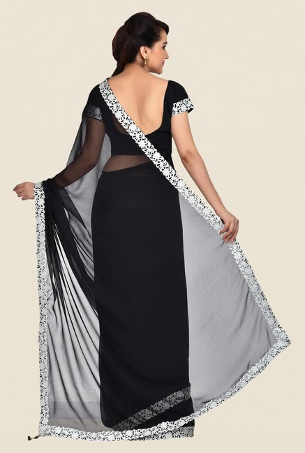 Shonaya Black Georgette Chiffon Saree