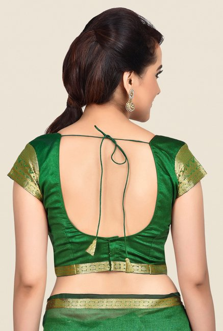 Shonaya Green Banarasi Art Silk Solid Saree