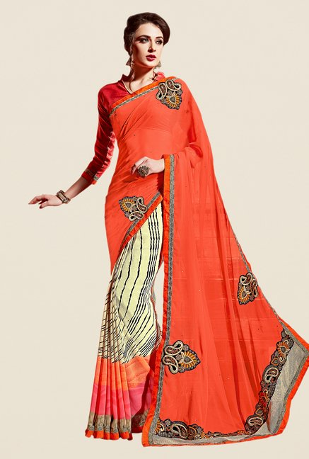 Shonaya Orange & Cream Georgette Saree