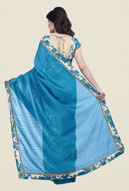 Shonaya Blue & White Bhagalpuri Art Silk Saree