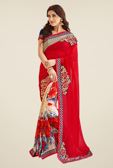 Shonaya Red & Beige Georgette Saree