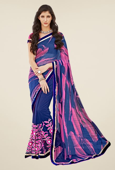 Shonaya Blue & Pink Georgette Saree