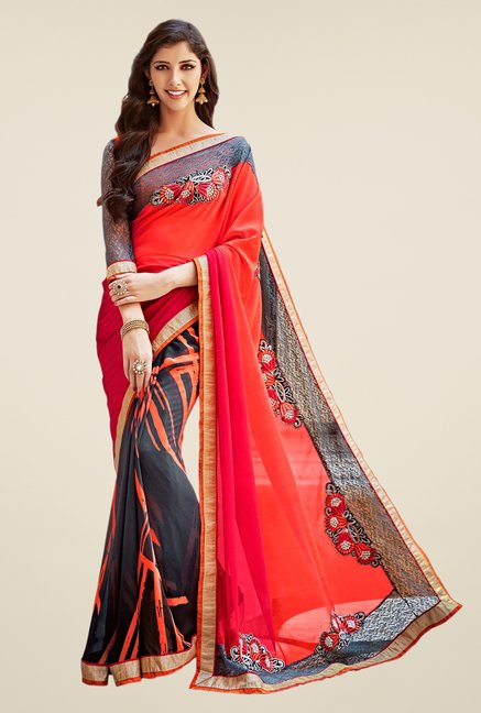 Shonaya Grey & Orange Georgette Saree