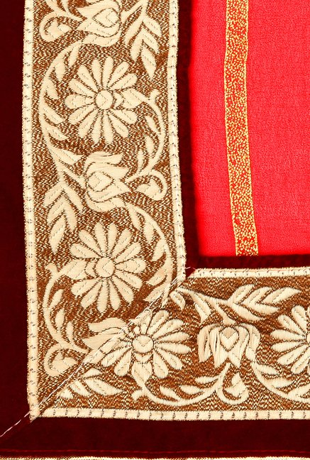 Shonaya Beige & Red Georgette Solid Saree