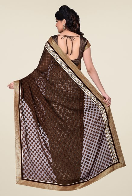 Shonaya Brown & Grey Georgette & Net Saree