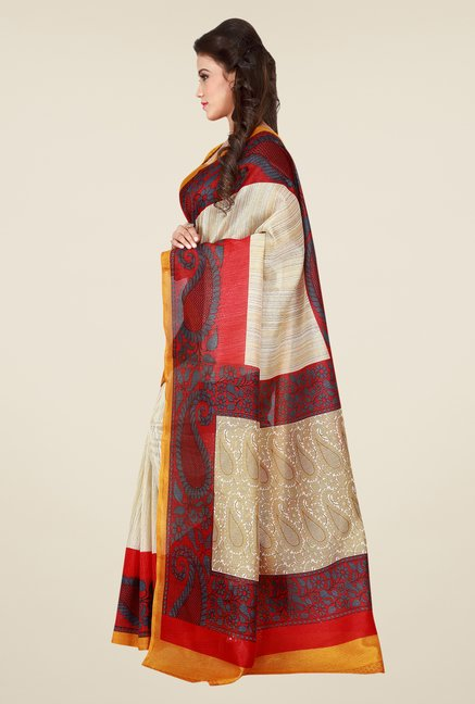 Shonaya Cream & Red Bhagalpuri Art Silk Saree