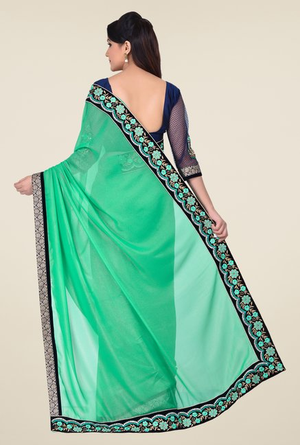 Shonaya Green Georgette Embroidered Saree